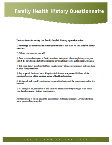 Family Health History Questionnaire | Cancer Care South East