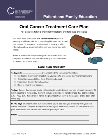 Oral Cancer Treatment Plan For Patients Taking Oral