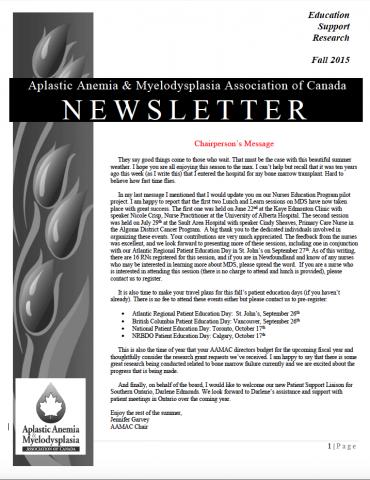 Aplastic Anemia & Myelodysplasia Association of Canada Newsletter