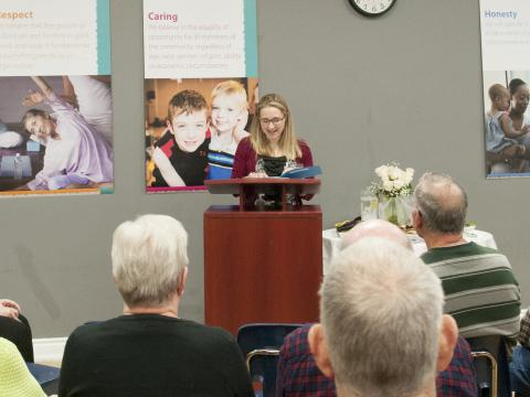 Renée Hartzell, interim manager of Cancer Services, introduces the Cancer Care Exercise Program at the official launch