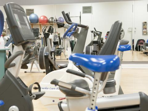 Some of the Y centre's equipment includes treadmills, exercise bicycles, weights, bands and other fitness equipment, all used under the supervision of personal trainers.