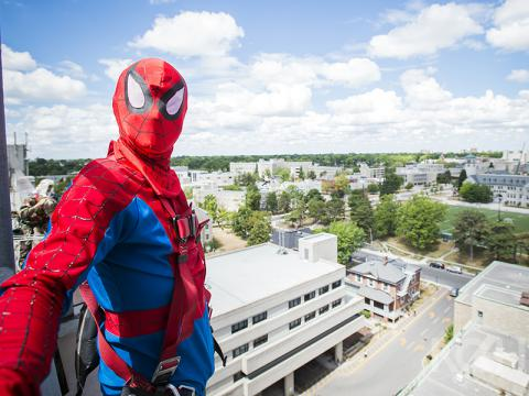 Spiderman window washing at KGH